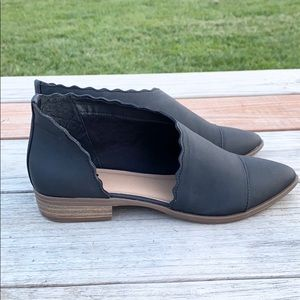 SO Shoes - SO Women Black Pointed Toe Open Side Flat Shoes